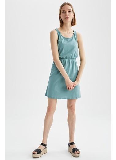 DeFacto Relax Fit Beli Büzgülü Askılı Basic Elbise Turkuaz